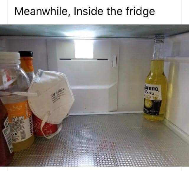 Corona in Fridge with Face Mask